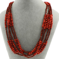 Natural Coral Necklace with Crystal brass spring ring clasp 5-strand   faceted 4x6mm Sold Per Approx 20 Inch Strand