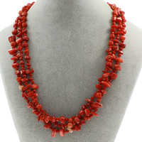 Natural Coral Necklace with Crystal brass spring ring clasp 3-strand   faceted 4x10mm-6x12x8mm Sold Per Approx 19.5 Inch Strand