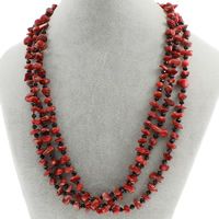 Natural Coral Necklace with Crystal brass spring ring clasp 3-strand   faceted 5mm-9x8x6mm Sold Per Approx 19.5 Inch Strand