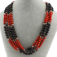 Natural Coral Necklace with Lava   Crystal brass spring ring clasp 5-strand   faceted 6mm Sold Per Approx 17 Inch Strand