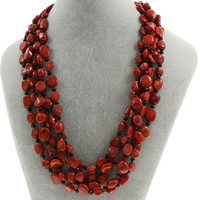 Natural Coral Necklace with Crystal brass spring ring clasp 5-strand   faceted 8x7x5mm-12x6mm Sold Per Approx 17 Inch Strand