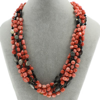 Natural Coral Necklace with Black Shell brass spring ring clasp 5-strand 5x10mm-6x12x7mm Sold Per Approx 17.5 Inch Strand