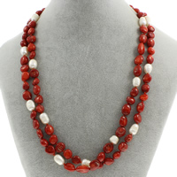 Natural Coral Necklace with Freshwater Pearl brass spring ring clasp 2-strand 8x5x4mm-10x6x7mm Sold Per Approx 18.5 Inch Strand