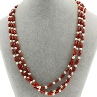 Natural Coral Necklace with Freshwater Pearl brass spring ring clasp 3-strand 7x4mm-12x4mm Sold Per Approx 19.5 Inch Strand