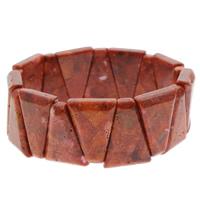 Натуральный коралл браслет, Треугольник, натуральный, оранжевый, 17x25x6mm, Продан через Приблизительно 7 дюймовый Strand