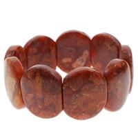 Натуральный коралл браслет, натуральный, оранжевый, 22x28x7mm, Продан через Приблизительно 7 дюймовый Strand