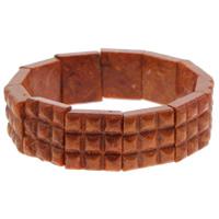 Натуральный коралл браслет, Квадратная форма, натуральный, оранжевый, 18x6mm, Продан через Приблизительно 7 дюймовый Strand