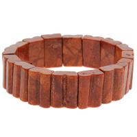 Натуральный коралл браслет, Прямоугольная форма, натуральный, оранжевый, 13x18x7mm, Продан через Приблизительно 7 дюймовый Strand