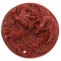 Coral Connectors, Natural Coral, Flat Round, natural, carved & 1/1 loop, red, 54x12mm, Hole:Approx 1mm, Sold By PC