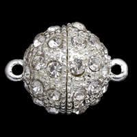 Zinc Alloy Magnetic Clasp, with Magnetic Hematite, Round, silver color plated, with rhinestone & single-strand, lead & cadmium free, 20x14mm, Hole:Approx 1mm, Sold By PC