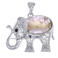 Natural Yellow Shell Pendants Zinc Alloy with Yellow Shell Elephant platinum color plated with rhinestone lead   cadmium free 45x41x10mm Hole:Approx 11x9mm 10PCs/Bag