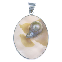 Natural Yellow Shell Pendants with Freshwater Pearl   Brass Flat Oval platinum color plated 31x47x13mm Hole:Approx 6x7mm 10PCs/Bag