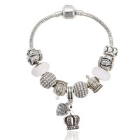 European Bracelet Zinc Alloy with brass chain   Lampwork Crown antique silver color plated different length for choice   with rhinestone nickel lead   cadmium free