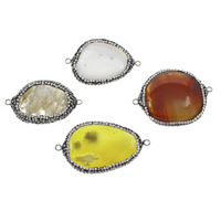 Agate Connector, Mixed Agate, with Rhinestone Clay Pave & Brass, platinum color plated, 1/1 loop, Grade AAA, 22x40x6mm-32x45x7mm, Hole:Approx 2mm, 10PCs/Bag, Sold By Bag