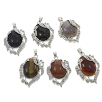 Natural Gemstone Pendant Component  with Brass platinum color plated Grade AAA 28x42x10mm Hole:Approx 4x6mm Inner Diameter:Approx 1.5 2mm 10PCs/Bag