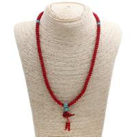 Натуральный коралл Ожерелье, с Синтетическая бирюза, Форма тыквы, натуральный, 11x23mm, Продан через Приблизительно 19.5 дюймовый Strand