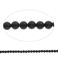 Natural Black Stone Beads, Round, different size for choice, Hole:Approx 1mm, Length:Approx 15 Inch, Sold By Bag