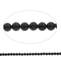 Black Stone Beads, Ronde, verschillende grootte voor keus, Gat:Ca 1mm, Lengte:Ca 15 inch, Verkocht door Bag