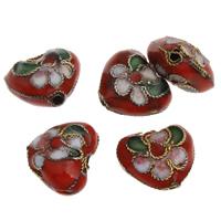 Cloisonne Kraal, Hart, handgemaakt, 12x10x7mm, Gat:Ca 1mm, 20pC's/Bag, Verkocht door Bag