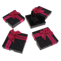 Cardboard Bracelet Box, with Satin Ribbon, Square, 90x90x22mm, Sold By PC