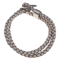PU Bracelet, with Zinc Alloy, platinum color plated, 10x5mm, Sold Per Approx 7 Inch Strand