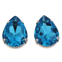Crystal Cabochon, with Zinc Alloy, Teardrop, platinum color plated, flat back & faceted, Aquamarine, 18x25x8mm, Sold By PC