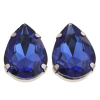 Crystal Claw Sew On Stone, with Zinc Alloy, Teardrop, platinum color plated, flat back & faceted, Sapphire, 18x25x8mm, Sold By PC