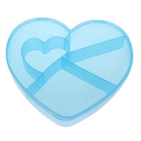 Plastic Beads Container, Heart, blue, 138x127x28mm, Sold By PC