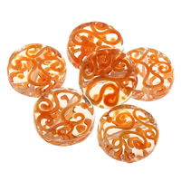 Clearance Lampwork Beads, Flat Round, handmade, 20x7mm, Hole:Approx 1mm, 50PCs/Bag, Sold By Bag