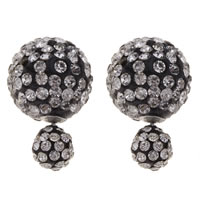 Clay Pave Double Faced Stud Earring, stainless steel post pin, Round, with rhinestone, 16x25mm, Sold By Pair