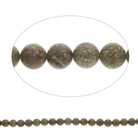 Natural Unakite Beads, Round, 10mm, Hole:Approx 1mm, Length:Approx 15 Inch, 5Strands/Bag, Approx 40PCs/Strand, Sold By Bag