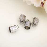 Stainless Steel End Caps, Column, original color, 6.50x10.10mm, Hole:Approx 2mm, Inner Diameter:Approx 6mm, 200PCs/Lot, Sold By Lot