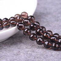 Natural Smoky Quartz Beads, Round, 64-sided & different size for choice & faceted, Hole:Approx 1-2mm, Length:Approx 15 Inch, Sold By Lot