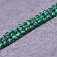 Natural Malachite Beads, Round, different size for choice, Hole:Approx 1-2mm, Length:Approx 15 Inch, Sold By Lot