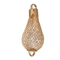 Металлические коннекторы , Железо, с Кристаллы, Каплевидная форма, плакирован золотом, 1/1 петля & отверстие, 25x60x25mm, отверстие:Приблизительно 7mm, 100ПК/Лот, продается Лот