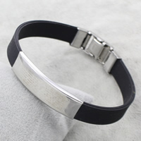 Stainless Steel Jewelry Bracelet, with Silicone, original color, 39x12x4mm, Sold Per Approx 7.5 Inch Strand