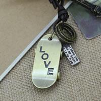 Коровьей ожерелье, цинковый сплав, с коровьей шнур, Скейтборд, слова любви, Другое покрытие, может быть использован как ожерелье или свитера & регулируемый, не содержит никель, свинец, Продан через 19.6-31.5 дюймовый Strand