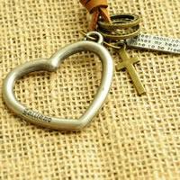 Коровьей ожерелье, цинковый сплав, с коровьей шнур, Сердце, Другое покрытие, может быть использован как ожерелье или свитера & регулируемый, не содержит никель, свинец, Продан через 19.6-31.5 дюймовый Strand