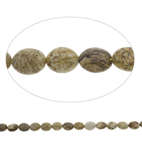 Picture Jasper Beads, Flat Oval, 9x11x5mm, Hole:Approx 1mm, Approx 37PCs/Strand, Sold Per Approx 15.5 Inch Strand