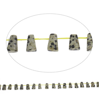 Natural Dalmatian Beads, Trapezium, 8x12x5mm, Hole:Approx 1mm, Approx 33PCs/Strand, Sold Per Approx 15 Inch Strand