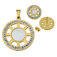 Fashion Stainless Steel Jewelry Sets, pendant & earring, with Rhinestone Clay Pave & White Shell, Flat Round, gold color plated, natural, 34.5x39x2.5mm, 17.5x14mm, Hole:Approx 5x9mm, 10Sets/Lot, Sold By Lot