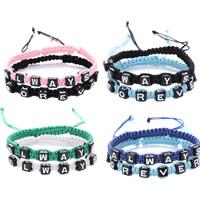 Вощеная хлопок шнур браслеты для двоих, с пластик, слово всегда навсегда, регулируемый, Много цветов для выбора, длина:Приблизительно 6 дюймовый, 3Пары/Лот, продается Лот