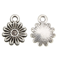Zinc Alloy Pendant Rhinestone Setting Flower antique silver color plated lead   cadmium free 11x14x2mm Hole:Approx 2mm Inner Diameter:Approx 2mm 100G/Bag