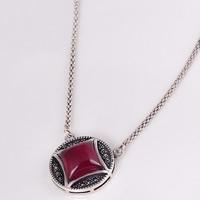 Таиланд Серебряное ожерелье, с рубин, с 0.7lnch наполнитель цепи, Плоская круглая форма, Июнь камень & цепь для фонаря, 9mm, Продан через Приблизительно 18 дюймовый Strand
