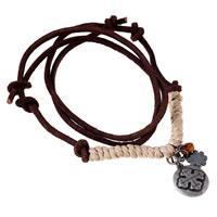 Коровьей ожерелье, Шнур из натуральной кожи, с пеньковый трос & цинковый сплав, плакированный цветом под старое серебро, может быть использован как ожерелье или свитера & регулируемый, Продан через 19.6-31.5 дюймовый Strand