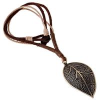 Коровьей ожерелье, Шнур из натуральной кожи, с пеньковый трос & цинковый сплав, Листок, Покрытие под бронзу старую, может быть использован как ожерелье или свитера & регулируемый, Продан через 19.6-31.5 дюймовый Strand