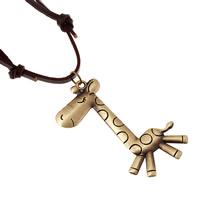 Коровьей ожерелье, Шнур из натуральной кожи, с пеньковый трос & цинковый сплав, Жираф, Покрытие под бронзу старую, может быть использован как ожерелье или свитера & регулируемый, длина:19.6-31.5 дюймовый, 10пряди/Лот, продается Лот