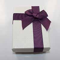 Kartonowe pudełko na zestaw biżuterii, Tektura, Pierścień & kolczyk & naszyjnik, ze Gąbka & Wstążka rypsowa, Prostokąt, z motywem kokardki, 66x92x32mm, 24komputery/wiele, sprzedane przez wiele