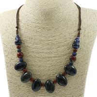 Ожерелья из фарфора, фарфор, с Вощеная Конопля шнура, Овальная форма, покрытый глазурью, регулируемый, 16x23x11mm, Продан через Приблизительно 19.5 дюймовый Strand