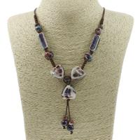 Ожерелья из фарфора, фарфор, с Вощеная Конопля шнура, Форма цветка, покрытый глазурью, регулируемый, 21mm, Продан через Приблизительно 22.5 дюймовый Strand
